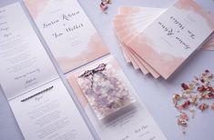 Opposite of Ordinary blush watercolour order of service with dried flower confetti pouch