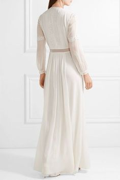 Burberry - Lace-trimmed Silk-crepon Gown - Ivory