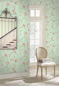 Victoria Lane HC91104 wallpaper, Pale Green / Pink by Galerie - Searns Decor
