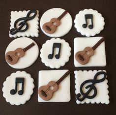 12 x edible icing Musical Guitar theme cupcake by ACupfulofCake