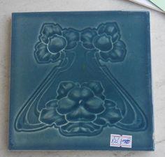 "English organic Art Nouveau tile 6""x6""c1905/6, ref 57 | eBay"