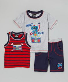 Look what I found on #zulily! Gray 'Robots Rock!' Tee Set - Infant & Toddler by Boys Rock #zulilyfinds