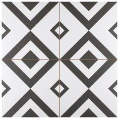 The Merola Tile Brixton in. Ceramic Floor and Wall Tile is the latest addition to our line of pieces inspired by artisan cement tiles. The low-sheen glaze features clean, dramatic House Tiles, Wall Tiles, Black And White Flooring, Carpet Flooring, Tile Flooring, Kitchen Flooring, Garage Flooring, Kitchen Tile, Kitchen Cupboards