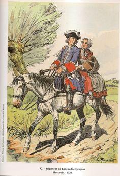 SOLDIERS- Rousselot: French Dragoon Regiment Languedoc, Hautbois, 1720, by Lucien Rousselot.
