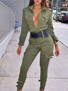 【Chicme Black Friday Big Sale】Up to 90% OFF! Deep V Pocket Design Skinny Jumpsuit