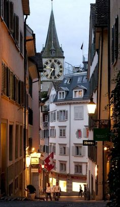 Clock tower in the historic section of Zurich, Switzerland