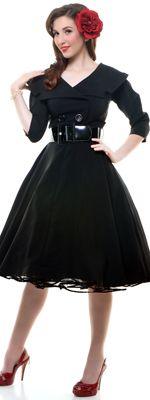 Black Secretary Circle Skirt Swing Dress