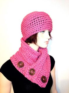 Pink Crochet Hat & Neckwarmer set/ Womens Winter by Africancrab