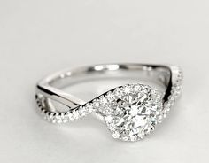 Dear future husband..... Petite Twisted Halo Diamond Engagement Ring in 14k White Gold (1/4 ct. tw.)