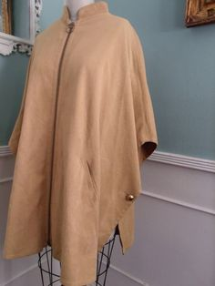 Vintage 60's Cape. Reversable Beige / Caramel Brown Cape. Gold Buttons - pinned by pin4etsy.com