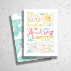 Sunshine Birthday Invitation You Are My by ohbejoyfulshop on Etsy