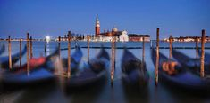 Gondolas at Night - Venice by bocdublin Travel Adventure Photography Photography Words, Popular Photography, Types Of Photography, Outdoor Photography, Exposure Photography, Adventure Photography, Travel Photography, Regions Of Italy, Blue Hour