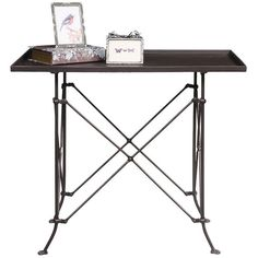 """Accent Table: \"""" Metal Table with Bronze Finish - Brown (150 AUD) ❤ liked on Polyvore featuring home, furniture, tables, accent tables, metal occasional tables, metal coffee table, colored furniture, brown table and brown furniture"""