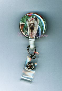 Yorkshire Terrier in Tulip Garden Yorkie by greerdesign on Etsy (Accessories, Lanyard, Id, badge reel, id, id badge holder, retractable badge, name badge, decorative badge, painting, yorkie, Yorkshire terrier, dog, cute, playing, teacher)