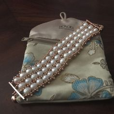 Braclet White Cultured pearl 8.5 mm average triple row bracelet  with magnetic closure...with bag Honora Jewelry Bracelets
