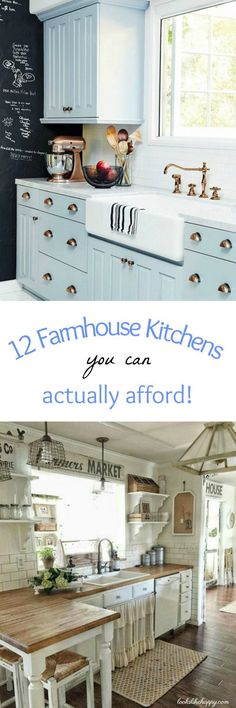 12 Farmhouse Kitchens You Can Actually Afford – Looks Like Happy  #farmhouse #kitchen #farmhousekitchen #kitchenreno #renovation #remodel #kitchendesign #home #family #lookslikehappy