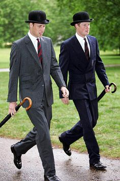 Regimental ties and the bowler.