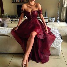 Charming prom dress,Burgundy Off Shoulder Hi-Lo Prom Dress, A Line Evening Dress,evening dress for women