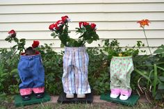 Pot Pants Planters | We Have Neat Stuff  One of a kind planter made with kids pants and shoes. Can be used inside or outside. Check out all of the different styles. Be the first on your block to have one of these VERY unique flower planters!
