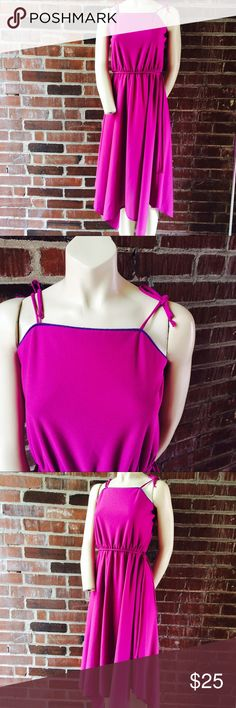 """Vintage 70s Pink Day Dress Vintage 70s pink dress w/ violet purple trim. Spaghetti straps that tie at the shoulder. Full skirt. Size XS. Bust 32"""" Length 43"""". Material: Poly. Great vintage condition. Vintage Dresses"""