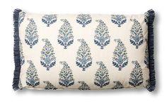 Mughal+Garden+16x26+Lumbar+Pillow,+Blue