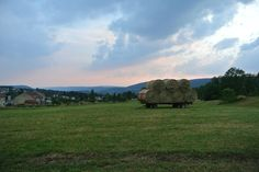 Haystacks and pink sky