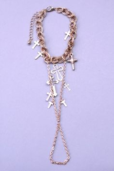 Gold Cross Charms Chain Link Bracelet Ring Combo