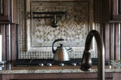 Glass and ceramic #kitchen backsplash design by Tukasa Creations with Sonoma #Tile.