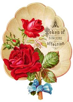 free Victorian Roses art | victorian rose clipart, vintage clip art fan, red rose graphics, free ...