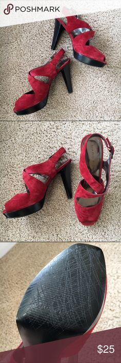 """👠Marc Fisher Suede Heels  👀!! These were my favorite """"practice around the house but never leave the house"""" shoes. I followed Tyra Banks's trick of taking scissors to the bottom to crosshatch to improve traction. Solid 4.5"""" heels with .5"""" platform. They may run a little large because when I wore 9s they fit well. Never worn outdoors. Marc Fisher Shoes Heels"""