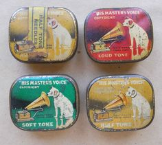 HMV – 4 VINTAGE 1930s GRAMOPHONE NEEDLE TINS (NO NEEDLES INCLUDED)