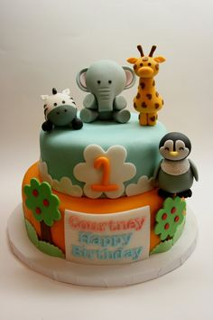 Baby Zoo Animals Cake