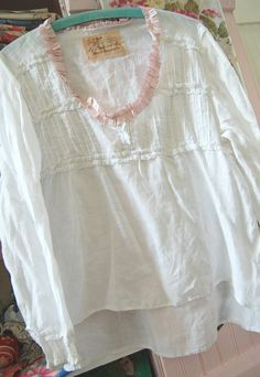 White Tunic Gypsy Shabby Chic Vintage Lace