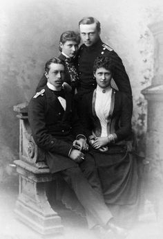 Princess Irene of Hesse and Prince Henry of Prussia, april 1887, soon to-be-weds are with Irene's sister and brother, Princess Alix and Prince Ernest Louis of Hesse.