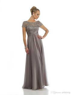 DM Modest Style Mother Of The Bride And Groom Dresses Long Crew Beading Beads Zipper Tulle Empire Floor Length Capped Sleeve Evening Dress