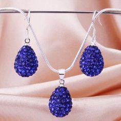Teardrop Dark Blue Shamballa Inspired Jewelry Set Swarovski Crystal Beads Nickel Free Princess 925 Silver Necklace Earrings Valentine's day , Mothers Day, Christmas Gift