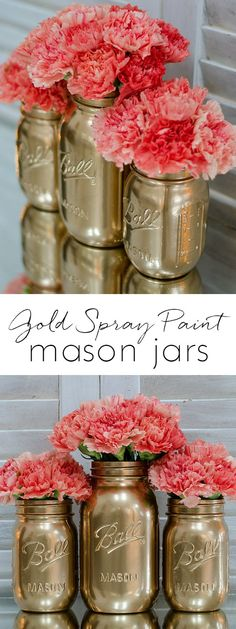 How To Spray Paint Jars - Gold Spray Painted Mason Jars - Mason Jar Craft Ideas - Mason Jar Vase Ideas @www.masonjarcraftslove.com