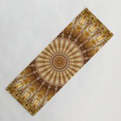 Golden tones mandala Yoga Mat by Coleggenna Mandala, Yoga, Lifestyle, Mandalas