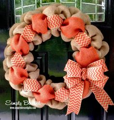 Orange and Natural Chevron Burlap Wreath 22 inch for front door or accent - Fall, Tennessee Deco Mesh Wreaths, Fall Wreaths, Door Wreaths, Christmas Wreaths, Christmas Ideas, Christmas Ornaments, Ohio State Wreath, Chevron Burlap Wreaths, Teal Chevron