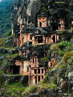 Awesome view of beautiful Myra Lucian rock tombs Turkey