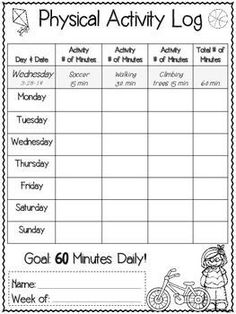 WEEKLY STUDENT PHYSICAL ACTIVITY AND NUTRITION LOG - TeachersPayTeachers.com