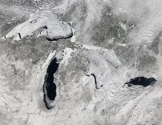 Stunning Ice-Covered Great Lakes Seen from Space. NASA's Aqua satellite captured this image of the lakes on the early afternoon of Feb. 19, 2014. At the time, 80.3 percent of the five lakes were covered in ice.