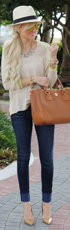 thin sweater jeans high heel shoes and handbag