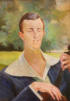 A Portrait of a Young Man with a Cello, 1923  by Jacek Malczewski, (Polish…
