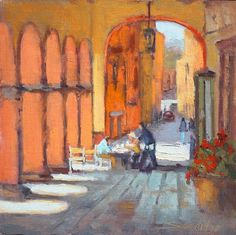 Coffee in San Miguel by Robert Sandidge, oil on canvas, 2010ish