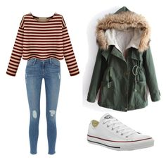 """""""Untitled #92"""" by erika-an ❤ liked on Polyvore featuring Frame Denim and Converse"""