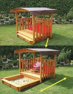 Want this for the kids without the sandbox.would make such a cute outdoor reading nook! pp said: tuck away sandbox.we need an Upgrade! outdoor inspiration for kids. Playground Sand, Playground Ideas, Outdoor Projects, Diy Projects, Pallet Projects, Diy Pallet, Project Ideas, Pallet Ideas, Outdoor Fun