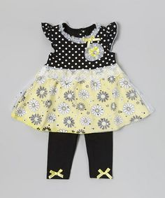 Look at this #zulilyfind! Black & Yellow Polka Dot Tunic & Leggings - Infant & Toddler #zulilyfinds