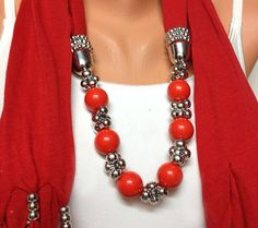 solid color soft jewelry scarf with beads gift or for by BienBijou, $25.00