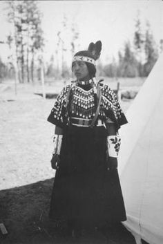 Spokane woman named Margaret Andrews Brown in ceremonial dress :: American Indians of the Pacific Northwest -- Image Portion